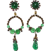 Louis Rousselet Green Gripoix Glass 4 Inch Dangle Earrings