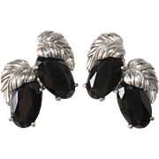 Schiaparelli LARGE Black Silver Leaf Earrings 1950s Vintage