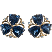 Schiaparelli Sapphire Blue Rhinestone Earrings