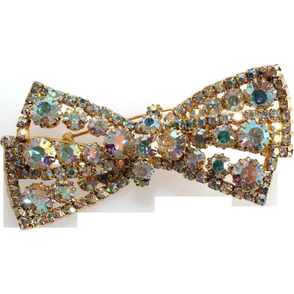 Schiaparelli Iridescent Rhinestone Bow Brooch