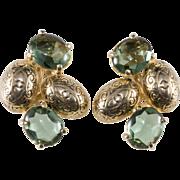 Schiaparelli Embossed Green Cabochon Earrings