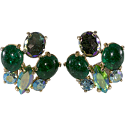 Schiaparelli Green Crackle Glass Rhinestone Earrings