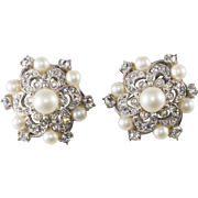 Schiaparelli Faux Pearl Rhinestone Earrings Vintage