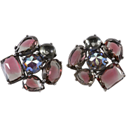 Schiaparelli Purple Gray Rhinestone Earrings Large Size