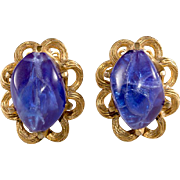 Schiaparelli Royal Blue Resin Bead Earrings Vintage