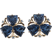 Schiaparelli 1950s Earrings with Blue Shield Rhinestones