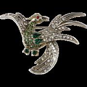 Schiaparelli Sterling Silver Bird Brooch Pin Rhinestones