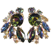 Schiaparelli Watermelon Rhinestone Earrings Vintage