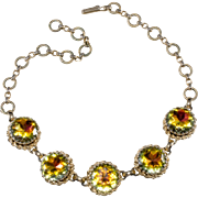 Schiaparelli Yellow Pink Green Rhinestone Necklace 1950s Vintage