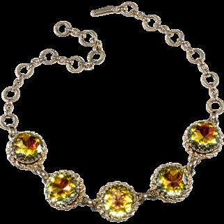 Schiaparelli Yellow Pink Green Rhinestone Necklace 1950s Vintage