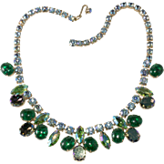 Schiaparelli Green Crackle Glass Blue Rhinestone Necklace