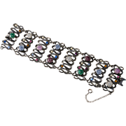 Schiaparelli WIDE Multi-Color Crackle Glass Rhinestone Bracelet 1950s Vintage