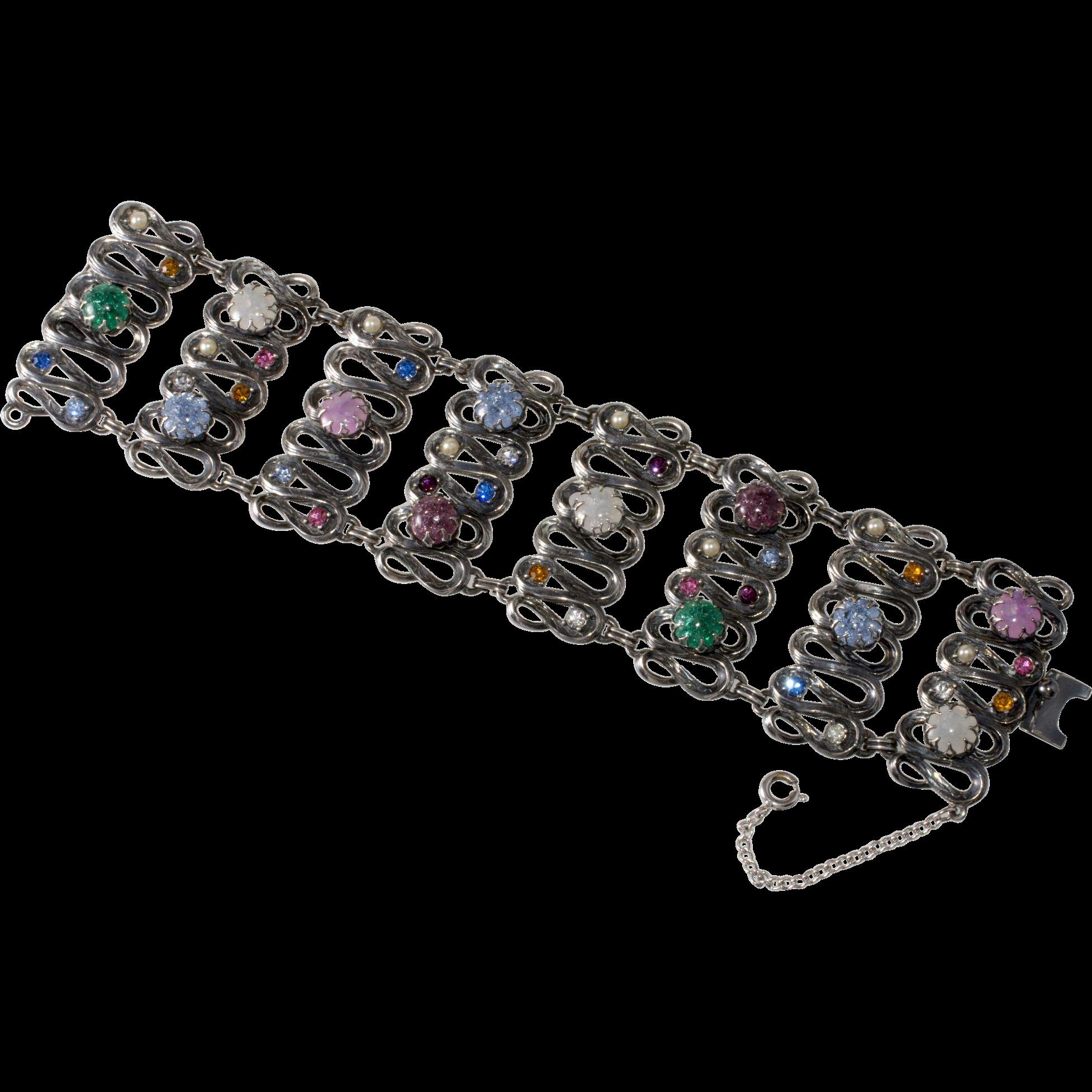 Schiaparelli WIDE Multi-Color Crackle Glass Rhinestone