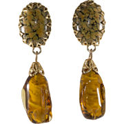 Schreiner Amber Art Glass Dangle Earrings Vintage