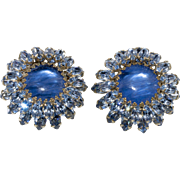 Schreiner LARGE Blue Rhinestone Earrings