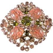 Schreiner Art Glass Rhinestone Coral Pink Green Brooch Pin