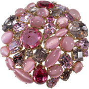 Schreiner Pink Purple Rhinestone Collage Brooch Pin Vintage 1950s