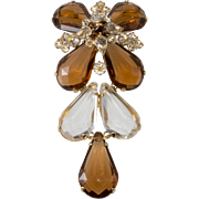 Schreiner Brown Clear Lucite & Rhinestone Dangle Brooch