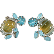 Schreiner Blue Cabochon Rhinestone Earrings