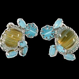 Schreiner Blue Cabochon Rhinestone Earrings