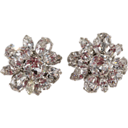 Schreiner Clear Rhinestone Flower Earrings