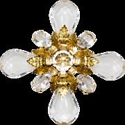 Schreiner Clear Lucite & Rhinestone Maltese Cross Brooch