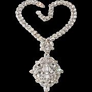 Schreiner LARGE Clear Rhinestone Pendant Necklace Brooch Vintage