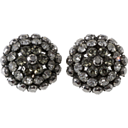 Schreiner Gray and Clear Rhinestone Domed Earrings