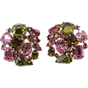 Schreiner Pink Green Rhinestone Earrings
