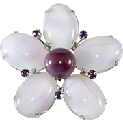 Schreiner Flower Brooch Pendant White Purple Glass 1960s Vintage