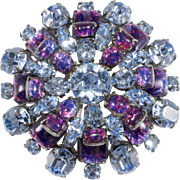 Schreiner Foiled Cabochon Blue Purple Rhinestone Brooch Pin Vintage
