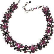 Schreiner Fuchsia Pink and Black Rhinestone Necklace Vintage