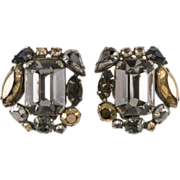 Schreiner Gray & Metallic Rhinestone Earrings