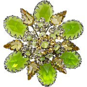 Schreiner Peridot Green and Yellow Rhinestone Brooch Pin Vintage