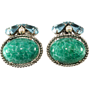 Schreiner Green Cabochon Rhinestone Earrings Vintage
