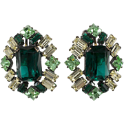 Schreiner LARGE Green & Yellow Rhinestone Earrings