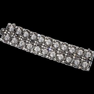 Schreiner WIDE Hematite Clear Rhinestone Bracelet