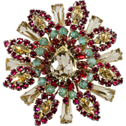 Schreiner Keystone Red Yellow Rhinestone 1950s Brooch Pin
