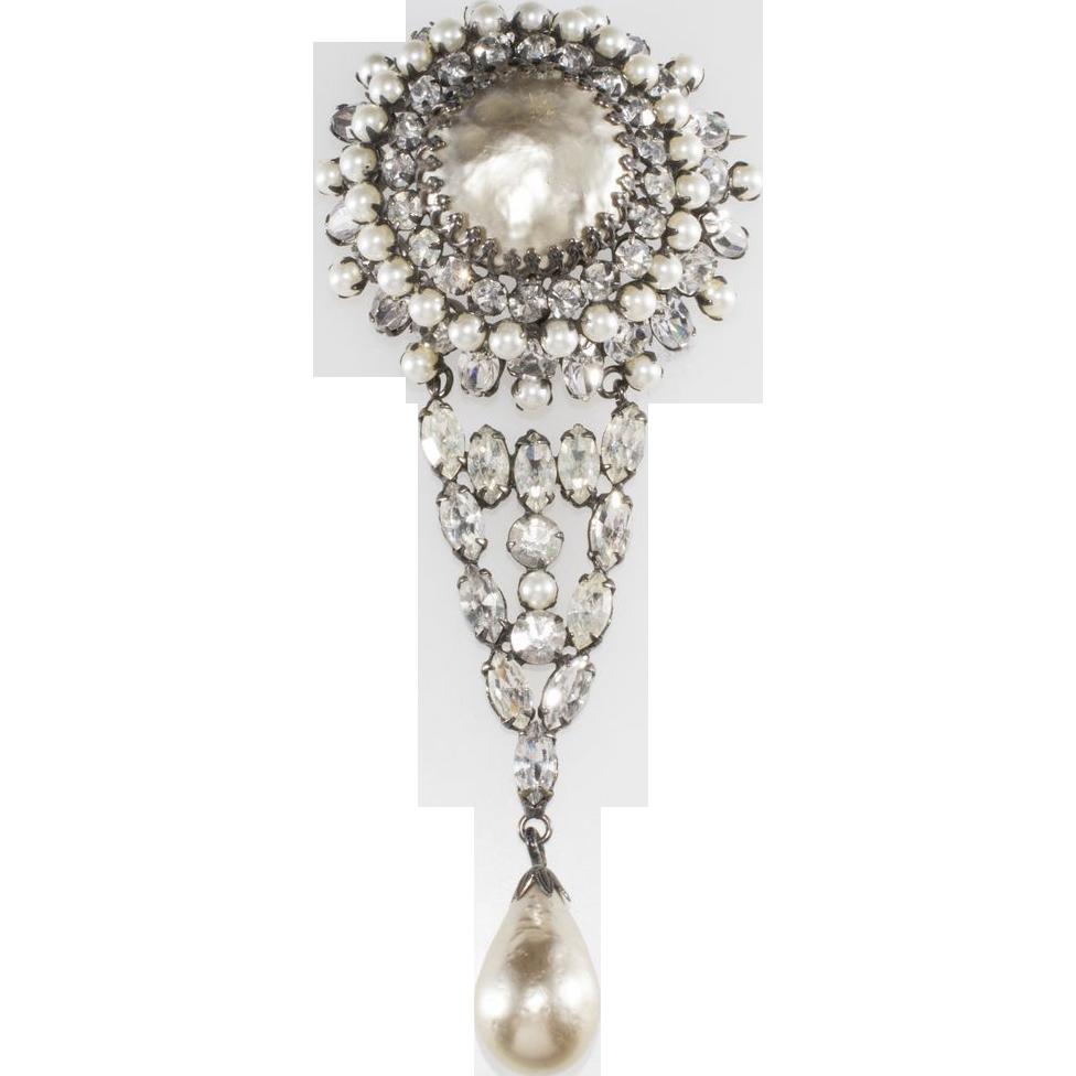"""Schreiner 5"""" Baroque Pearl & Rhinestone Brooch Pin"""