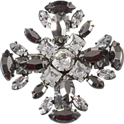 Schreiner Clear Gray Maltese Cross Rhinestones Brooch Pin