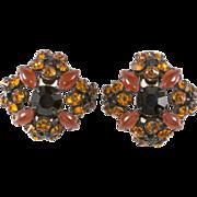 Schreiner Orange & Black Rhinestone Earrings