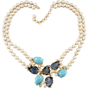 Schreiner Leaf Stone & Faux Pearl Necklace