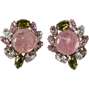 Schreiner Pink Swirled Cabochon Rhinestone Earrings
