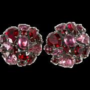 Schreiner Red & Pink Rhinestone Collage Earrings