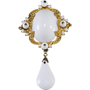 Schreiner LARGE White and Gold Dangle Brooch Pin Vintage