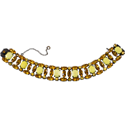 Schreiner Yellow and Amber Rhinestone Bracelet Unmarked