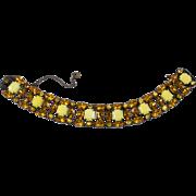Schreiner Yellow and Amber Rhinestone Bracelet Unmarked