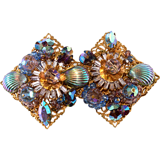 1960s Brooch Pin Iridescent Shell Stones and Purple Beads Vintage