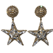 Simone Edouard Clear Rhinestone Star Dangle Earrings 1980s Vintage