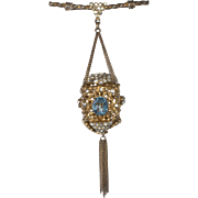 "Sonia Lee 5"" Lantern Brooch Pin Clear and Blue Rhinestones c. 1940"